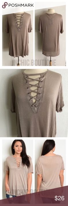 """3 LEFT! (Plus) Laced shirt Laced up look tshirt. 100% rayon. Lightweight, super soft, and stretchy! These are somewhat sheer. Side slits. Cuffed sleeves (sewn cuffed). For a less fitted/ more flowy look please order up one size.  1x: L 30"""" B 42"""" 2x: L 30"""" B 44"""" 3x: L 31"""" B 46"""" ⭐️This item is brand new with tags Price is firm unless bundled ✅Bundle offers Availability: 1x•3x • 1•2 Tops Tees - Short Sleeve"""