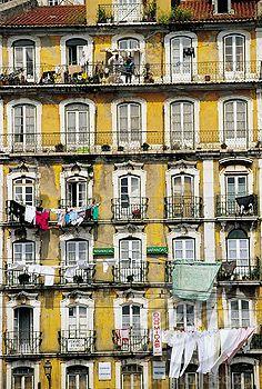 Building front at the Alfama, Moorish quarter (Old town). Lisbon. Portugal