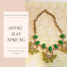 This stunning necklace uses a mix of jade-colored and emerald-colored stones to make the perfect necklace. This piece is versatile and makes it easy to dress for work and going out.  #Femaleownedbusiness#newyorkfashionweek #fashion#chic #bossbabe #Jcrew #fashionblogger  #classic #timeless #forsale #ebay #aesthetic #femaleentrepreneur #shopping #shop #aesthetic #artistic #art #artform #beauty #jewelry