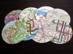 Mod Podge coaster maps