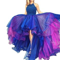 MARSEN Women's High Low Halter Prom Ball Gown Beading Poo...