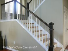 Stained newel post & rail, with white spindles Square Newel Post, Stair Paneling, Newel Posts, Living Room Remodel, Wall Treatments, Foyer, Beams, Home Improvement, Stairs