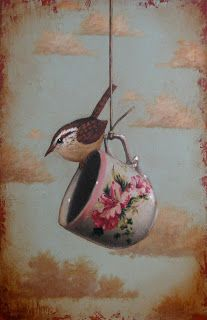 Artwork by David Arms for this Monday morning.Beautifully aged with an assortment of stunning birds, vintage wallpaper and textiles and,. Tee Kunst, Arm Art, Bird Drawings, Bird Feathers, Pet Birds, Stencil, Illustration, Tea Cups, Art Gallery