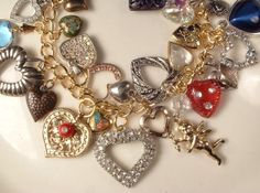 Love You MOM, Vintage Heart Gold Silver Charm Bracelet, All Vintage Charms Heart Collection One of a Kind