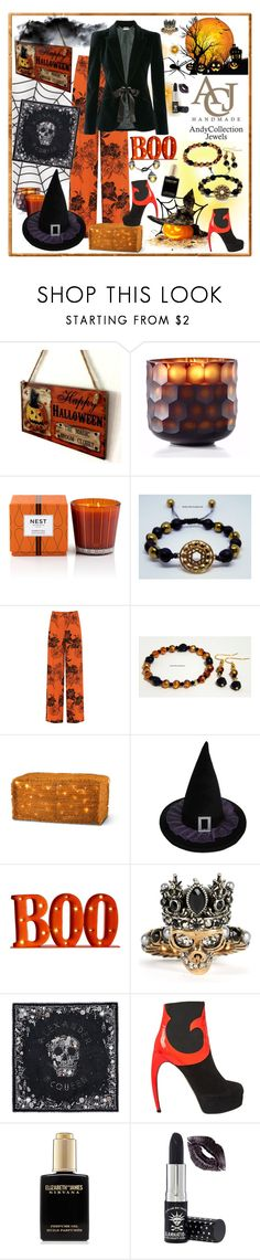 """Halloween Celebration with Andycollectionjewels"" by carola-corana ❤ liked on Polyvore featuring Nest Fragrances, WearAll, Improvements, Alexander McQueen, Walter Steiger, Elizabeth and James, Manic Panic NYC, Halloween, contest and andycollectionjewels"