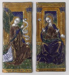 Workshop of the Master of the Triptych Orleans Annunciation , early XVI th century Limoges enamel Paris, Musée du Louvre