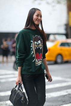 Street Style: New York Fashion Week Spring 2014 Must find this Tazmanian Devil sweater!