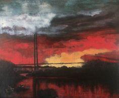 Sunset at Føyno. 120x100 cm. Acrylic.
