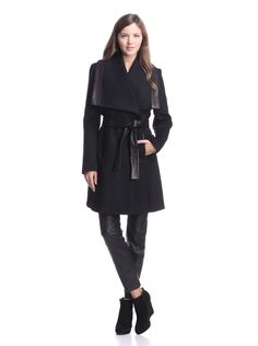 Elie Tahari Women's Marina Coat with Leather Trim (Black) Weighty wool coat with hidden snap closure, oversize collar, tonal leather trim, side pockets, self tie wool and leather belt Tie #BeltWomen #Outerwear