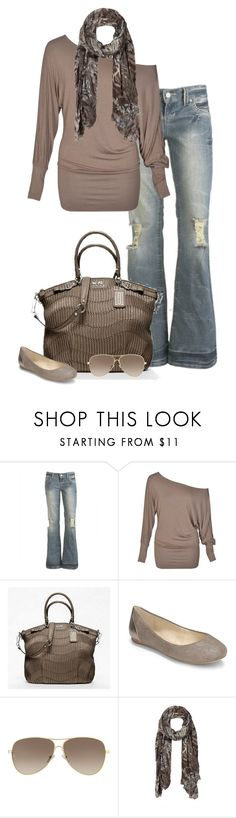 """""""Sunday Morning"""" by partywithgatsby ❤ liked on Polyvore featuring Arden B., Coach, Saks Fifth Avenue, Giorgio Armani, AllSaints, top handle bags, ballet flats, distressed denim, aviator sunglasses and statement scarves"""