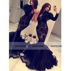 Sexy Black Lace Tulle Myriam Fares Formal Party Gown Dubai Middle East Haifa One-shoulder Mermaid Prom Dresses with Sleeve Online with $174.87/Piece on Whiteone's Store | DHgate.com