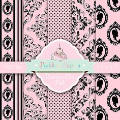 Parisian Chic Pink - Instant Download - Digital Collage Sheet - Elegant Paper - French Wallpaper - Digital Paper - Scrapbook