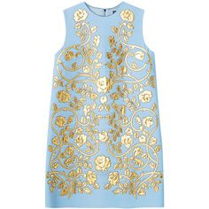 ドレス ❤ liked on Polyvore featuring dresses, tops, blue, gold, gold dress, yellow gold dress and blue dress