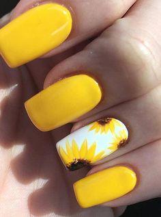 Summer Acrylic Nails, Best Acrylic Nails, Acrylic Nail Designs, Cute Gel Nails, Pretty Nails, Yellow Nails Design, Yellow Nail Polish, Sunflower Nails, Nagellack Design