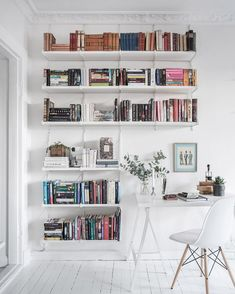 Workspace with a wall of books