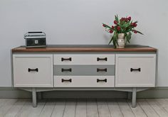 vintage retro painted sideboard by distressed but not forsaken | notonthehighstreet.com