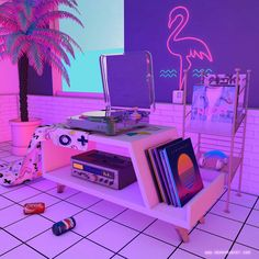 dreamlike artwork inspired by / aesthetic nostalgia fueled by synthwave, retrowave, and vaporwave style Aesthetic Room Decor, Purple Aesthetic, Retro Aesthetic, New Retro Wave, Retro Waves, Neon Room, Retro Wallpaper, Retro Futurism, Dream Rooms