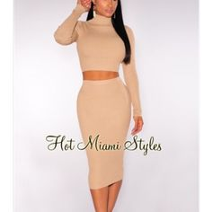 Nude ribbed knit turtleneck two piece set Curve hugging, elastic waistband,stretchy, 65%raylon 35% spandex length: 27 inches included top and skirt. Top worn once. Skirt new. Color matches last two pictures Hot miami styles Skirts Midi