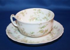 Antique Haviland & Co Limoges Floral Teacup and Saucer Made in France tea cup by KattsCurioCabinet on Etsy