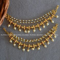 Check out the ear chain jewellery trend! Also, get to know the brands where you can shop them. Jewelry Design Earrings, Gold Earrings Designs, Gold Jewellery Design, Ear Jewelry, Bridal Jewelry, Necklace Designs, Gold Designs, Jewelry Logo, Jewelry Bracelets
