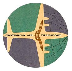 Hungarian luggage label - Malev Airlines, and what looks to be a wonderfully stylized IL-18.