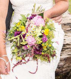 Just picked wedding bouquet using seasonal garden wild looking flowers.