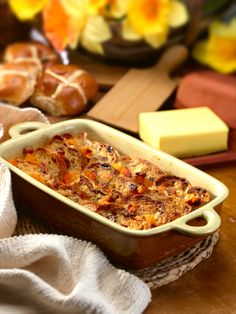 The perfect way to use up any leftover Hot Cross Buns - Hot Cross Bun & Apricot Butter Pudding