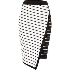 River Island White asymmetric stripe midi pencil skirt ($34) ❤ liked on Polyvore featuring skirts, white, sale, women, print pencil skirt, striped pencil skirts, print midi skirt, knit midi skirt and bodycon skirt