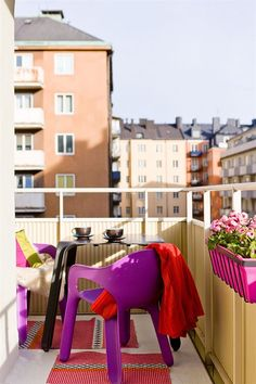 Bright colours on the balcony...