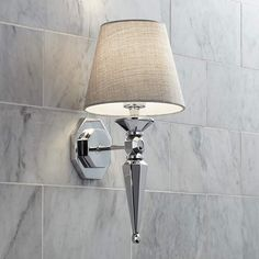 """Textured Fabric Shade 17 1/4"""" High Chrome Wall Sconce - #V3573 