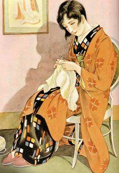 """""""Hardley"""" tricoteuse en kimono, illustration époque Art déco,"""