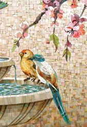 Mosaic birds on a bird bath Mosaic Tile Art, Mosaic Artwork, Pebble Mosaic, Mosaic Mirrors, Mosaic Glass, Paper Mosaic, Mosaic Animals, Mosaic Birds, Mosaic Art Projects
