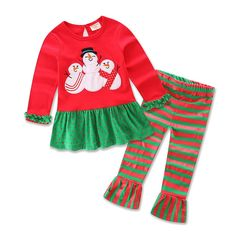 Suaicos Snow Man Cute Little Girls Christmas Pants Dress Clothing Set Red 2T. Cotton. The Christmas clothing set could be as perfect gifts. Cute design and fashionable style. Suitable for the coming season. High-quality, comfortable.