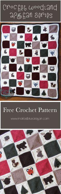 Woodland Afghan Series | Crochet Woodland Themed Blanket | Maria's Blue Crayon | Free Crochet Pattern