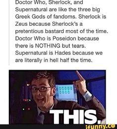 doctor who, hades, poseidon, sherlock, supernatural, zeus, superwholock
