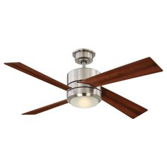 Modern Ceiling Fan With Drum Light Shade   celing fans   Pinterest     Home Decorators Collection Healy 48 in  LED Brushed Nickel Ceiling Fan