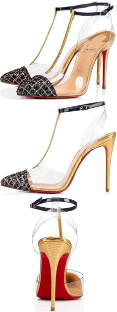"""""""Nosy"""" keeps the mystery this season with a transparent PVC slingback and vamp detailing that make the ankle and T-straps appear to float on the foot. Dressed in a sumptuous mix of gold embossed dino laminato leather, patent and China blue aliglitter, this 100mm pump is a style to treasure."""