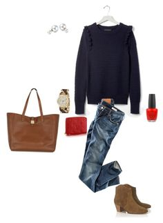 """""""Banana Republic navy ruffle sweater"""" by millaschic on Polyvore featuring Banana Republic, H&M, Étoile Isabel Marant, Empreinte, MICHAEL Michael Kors, OPI, Bling Jewelry and Mulberry"""