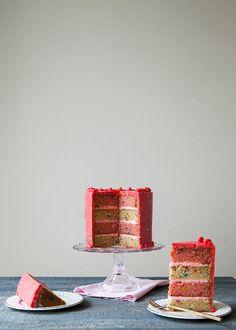 "Strawberry and Vanilla Funetti Layer Cake ~ via this blog, ""Style Sweet CA""."