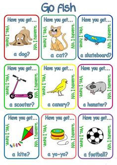 Go fish - Have you got. + pets & toys - English ESL Worksheets for distance learning and physical classrooms English Games, Kids English, English Reading, English Activities, English Lessons, Learn English, English Exercises, Worksheets For Kids, Printable Worksheets