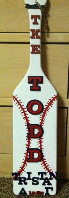 Baseball Fraternity Paddle I made for my TKE big bro. Fraternity Paddles, Sorority Paddles, Sorority Crafts, Sorority Recruitment, Phi Sigma Pi, Kappa Kappa Psi, Phi Mu, Delta Gamma, Big Little Paddles