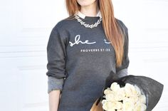 Cotton& Flex Fleece Sweatshirt in Charcoal with Silver Foil Print-Flex Fleece construction-Pullover sweatshirt-Features a soft interior and . She Is Clothed, Clothes Horse, Get Dressed, Beautiful Outfits, Charcoal, Graphic Sweatshirt, Sweatshirts, Logo, Sweaters