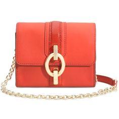 DIANE VON FURSTENBERG Sutra Micro Mini Leather Crossbody Bag (625 SEK) ❤ liked on Polyvore featuring bags, handbags, purses, shoes, sunburnt, mini cross body purse, mini crossbody handbags, leather crossbody handbags, red purse and leather purse