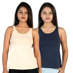 14335ee3cfb4b5 Letizia Women s Cotton A-line Tank Top Pack of 2 (Blue   Beige)  Amazon.in   Clothing   Accessories