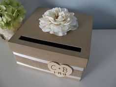 Rustic Wedding Card Box with Burlap, Ivory Rose with Chalkboard Wood or Paper Personalized Tag