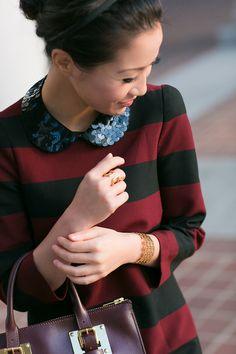 Sequin collar by Gemma Lister on Zara dress