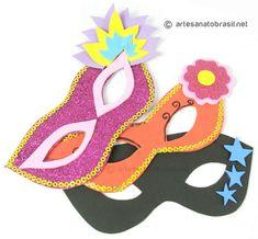 Carnaval chegando! Faça você mesmas para a criançada: ♔ - MáscarasdeEVA! - ♔ Estasmáscaras de EVA para o Carnavalsão simples de fazer!