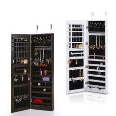 IKAYAA Fashion Mirrored Hanging Jewelry Armoire Cabinet Jewelry Storage Box Organizer Over the Door/Wall Mounted