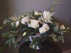 Rustic Barn All White Wedding Centerpiece :: The Vines Flower & Garden Shop