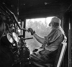 BOB THOMBS, ENGINEER LOCOMMOTIVE 5137 ON THE 'SCOOT,' CPR   MOOSEHEAD SUBDIVISION, ME 1959, David Plowden.